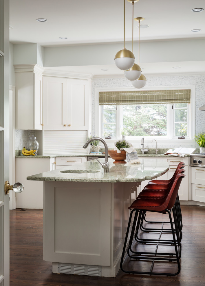 Kitchen - large contemporary kitchen idea in New York with shaker cabinets, white cabinets and an island