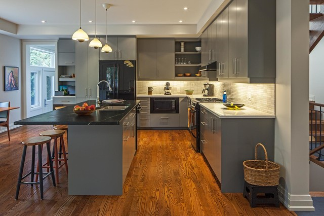 House Contemporary Kitchen Toronto By Peter A Sellar - Grey kitchen cabinets with wood floors