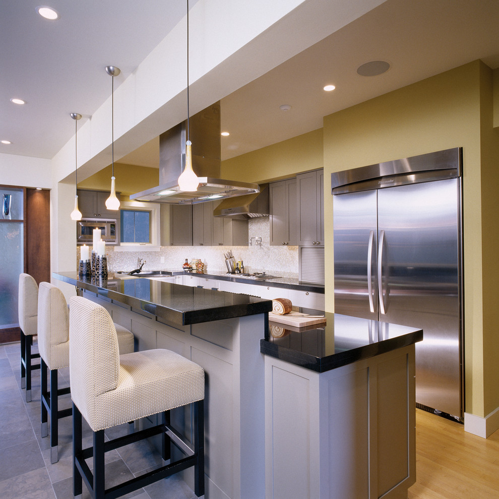 Example of a trendy kitchen design in Philadelphia with stainless steel appliances