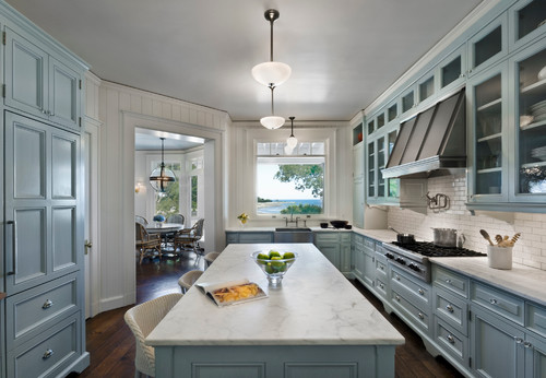 Connecticut beach house with marble countertops