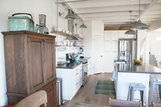 pantry and fridge farmhouse-kitchen