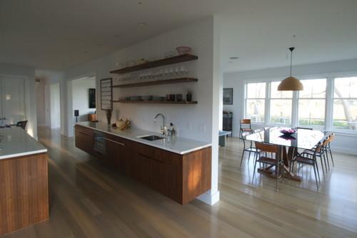Were the extra long floating shelves custom made Modern kitchen floor plans