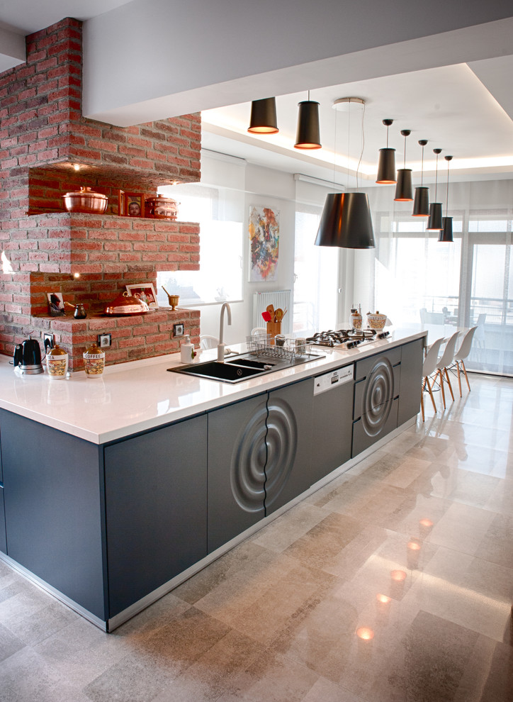Kitchen - contemporary kitchen idea in Other with a double-bowl sink and open cabinets