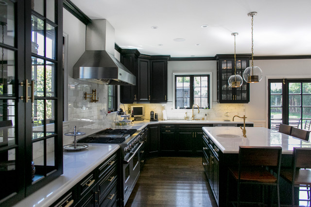 Kitchen Design Black Cabinets hudson house - transitional - kitchen - los angeles -jessica