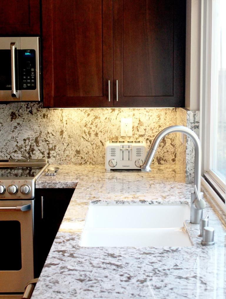 Quartzite counters - undermount sink
