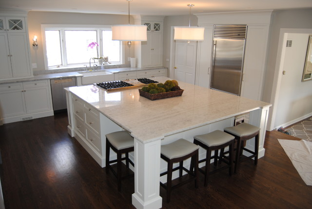 Ice Quartz And Super White Extra Kitchen For A Balance Of