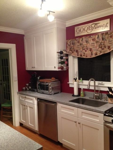 Ice White Shaker Kitchen Cabinets Before After