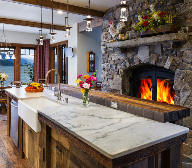 Idaho lake house rustic kitchen seattle by for Rustic lake house kitchens