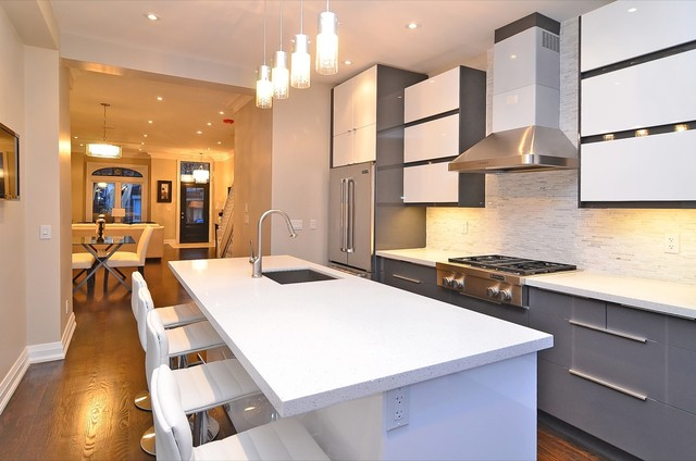 Ikea handleless Abstrakt grey and white kitchen - Contemporary - Kitchen - toronto - by TS ...