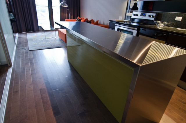 IKEA Island with custom Thermofoil doors and Stainless steel countertop - Modern - Kitchen ...