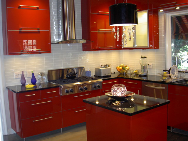 Superbe IKEA Kitchen Abstrakt Red In South Orange Contemporary Kitchen
