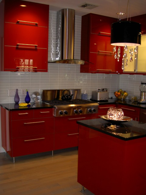 Ikea kitchen abstrakt red in south orange contemporary for Ikea in orange county