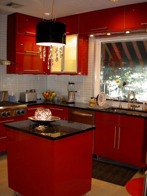 Charmant IKEA Kitchen Abstrakt Red In South Orange Contemporary Kitchen