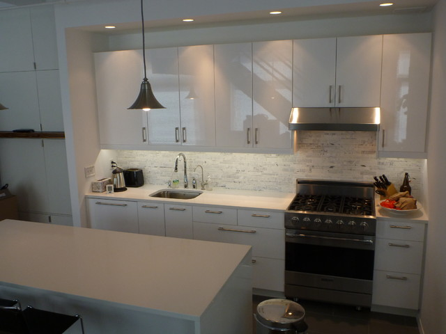 IKEA Kitchen: Abstrakt White Manhattan - Contemporary - Kitchen - new york - by Basic Builders, Inc.