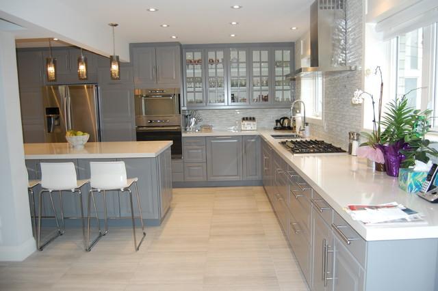 Salon Moderne Gris Blanc Et Noir : IKEA kitchen BODBYN grey  Classique  Cuisine  Toronto  par BML