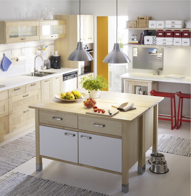 Example Of A Trendy Kitchen Design In Other Ikea Varde Stainless Steel Freestanding  Kitchen Drawer Unit ...