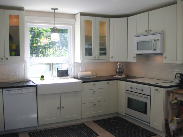 example of a transitional u shaped eat in kitchen design in milwaukee with a - Ikea Kitchen Remodel