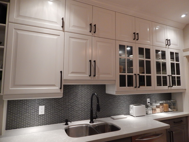 Ikea kitchens lidingo gray and white with stacked wall for Kitchen wall cupboards
