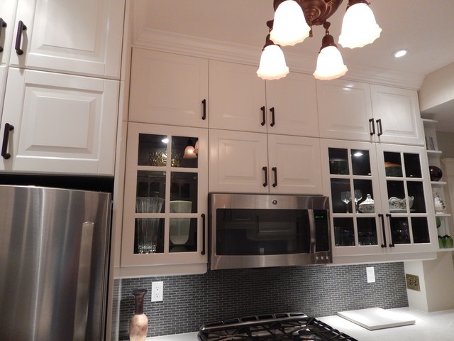 IKEA Kitchens  Lidingo Gray and White with Stacked Wall Cabinets