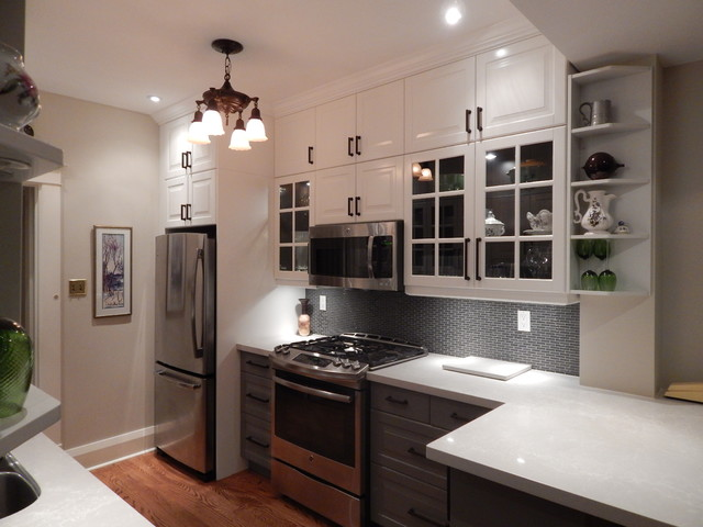 IKEA Kitchens - Lidingo Gray and White with Stacked Wall Cabinets