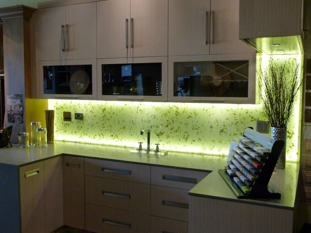 Delightful Illuminated Kitchen Backsplash With Rice Paper Leaves Into Laminated Glass  Asian Kitchen