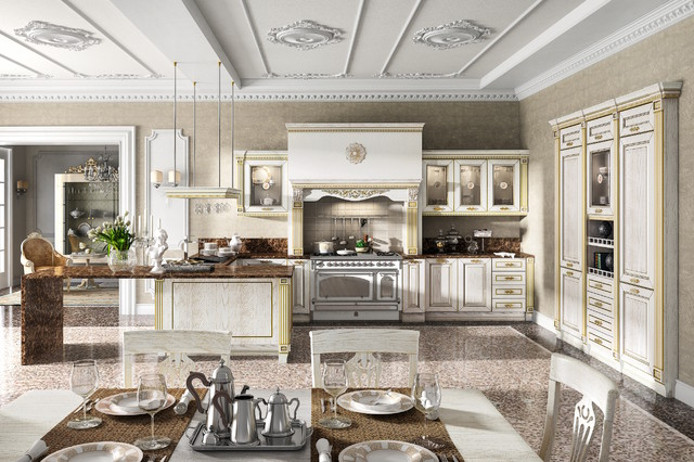 Imperial Gold White traditional-kitchen