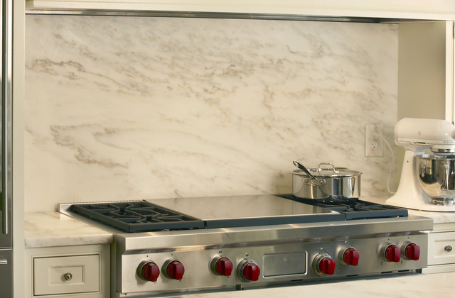 Imperial White Marble Backsplash Transitional Kitchen