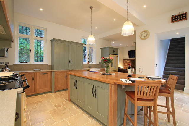 In Frame Oak Amp Painted Shaker Kitchen In Farrow Amp Ball