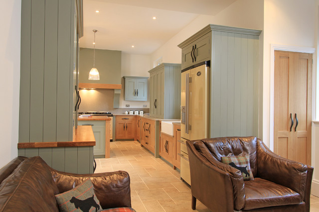 ... Painted Shaker Kitchen in Farrow & Ball Pigeon transitional-kitchen