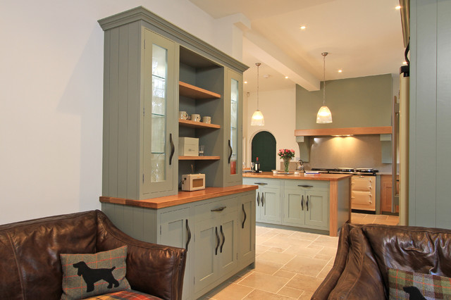 Farrow And Ball Pigeon.In Frame Oak Painted Shaker Kitchen In Farrow Ball