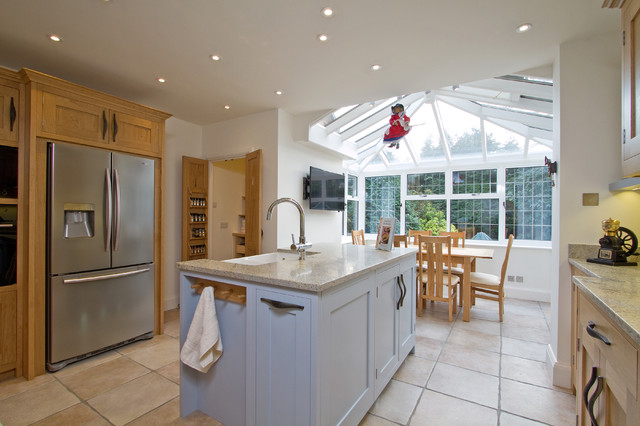 oak kitchen cabinets. Example of a trendy kitchen design in Hampshire Oak Kitchen Cabinets  Houzz