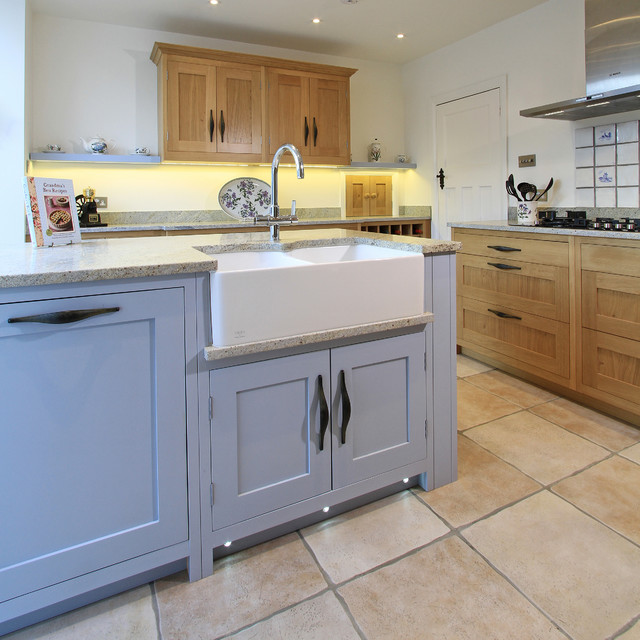 In-Frame Oak & Painted Shaker Kitchen in Parma Grey - Contemporary - Kitchen - south east - by ...