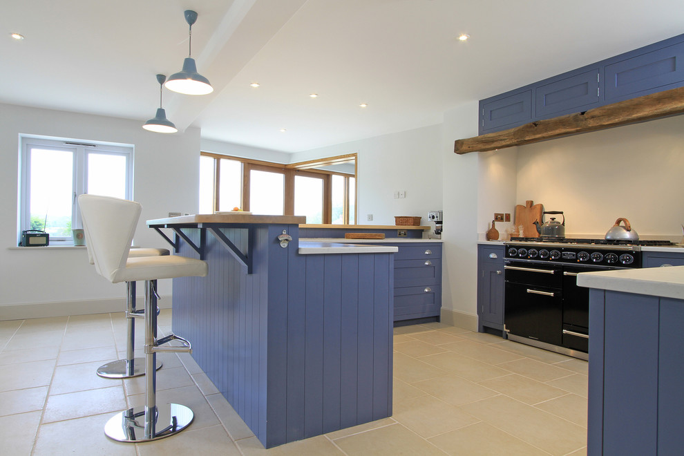 In Frame Shaker Kitchen In Juniper Ash Blue Traditional Kitchen Hampshire By Beau Port Kitchens Interiors