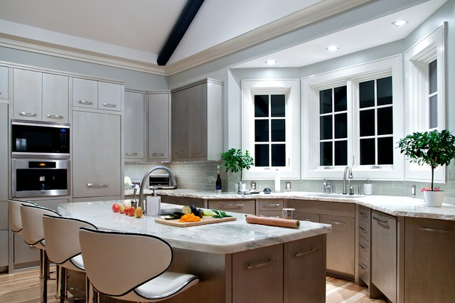 Elegant Inspiration For A Transitional Kitchen Remodel In Charlotte With Stainless  Steel Appliances, Flat Panel