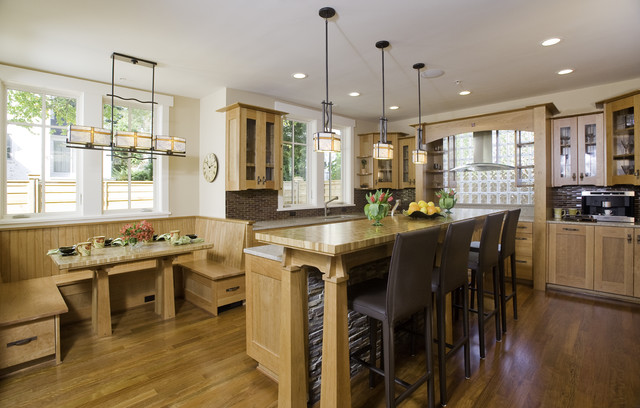 Kitchen   Craftsman Kitchen Idea In Seattle With Glass Front Cabinets