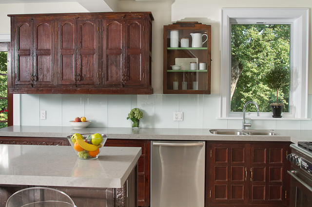 Indian inspired solid wood kitchen cabinets asian for Asian kitchen cabinets design