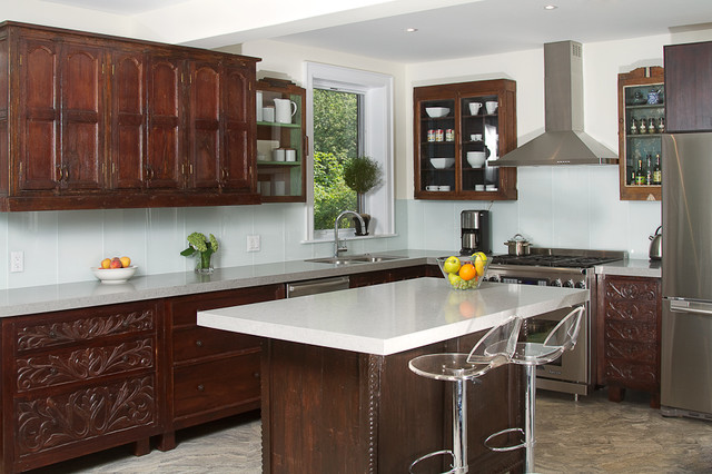 Indian Inspired Solid wood Kitchen Cabinets - Asian - Kitchen ...