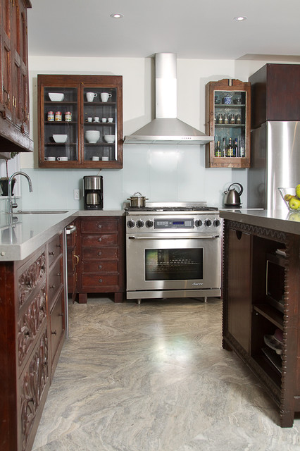 Indian inspired solid wood kitchen cabinets asian for Best material for kitchen cabinets in india