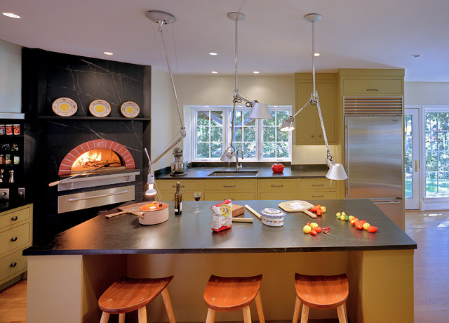 Indoor Wood Fired Pizza Ovens Transitional Kitchen