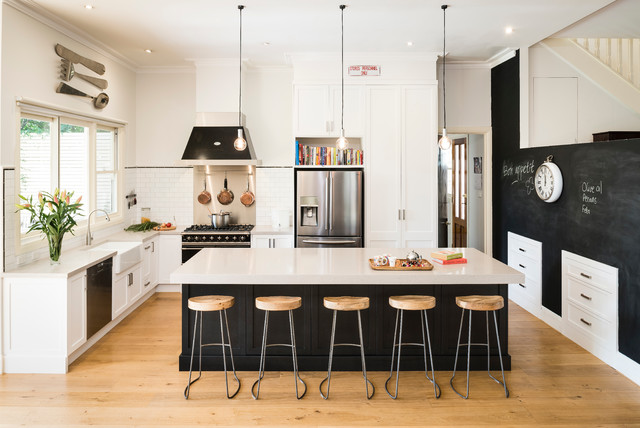 Industrial Kitchen and Library - Traditional - Kitchen - Melbourne ...