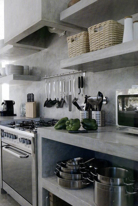 Inspiration for a mid-sized industrial single-wall concrete floor and gray floor eat-in kitchen remodel in Columbus with an integrated sink, open cabinets, gray cabinets, concrete countertops, gray backsplash, cement tile backsplash, stainless steel appliances, an island and gray countertops