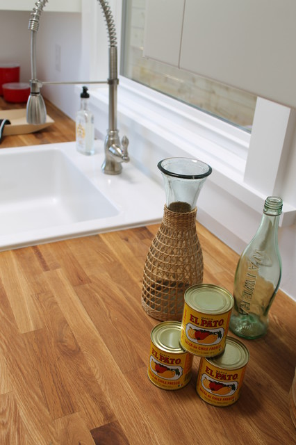 Kitchen Faucet with Farm Sink, Yellow and Red Accents eclectic kitchen