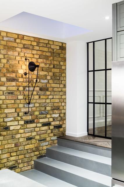 amusing industrial kitchen brick wall   Industrial kitchen fulham with brick wall - Industrial ...