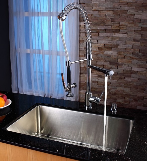 Industrial Kitchen Sink and Faucet - Industrial - Kitchen ...