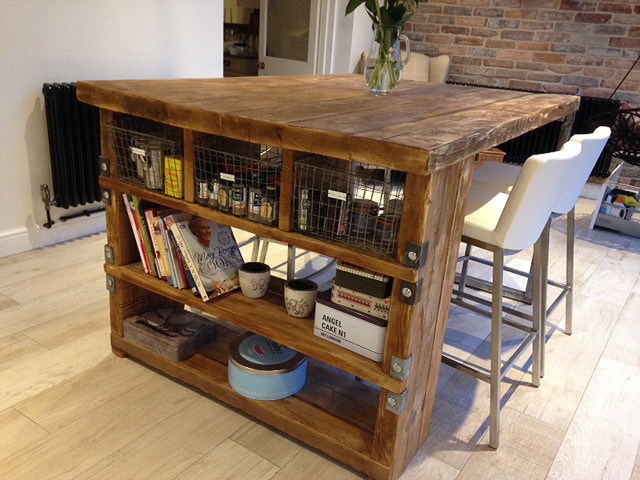 Industrial Mill Style Reclaimed Wood Kitchen Island - Industrial ...