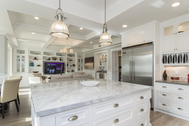 industrial pendant in casual white kitchen industrial