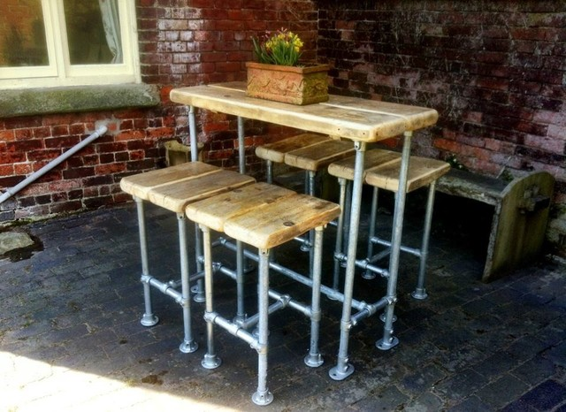 industrial style scaffold breakfast bar with four scaffold stools industrial kitchen breakfast bars furniture