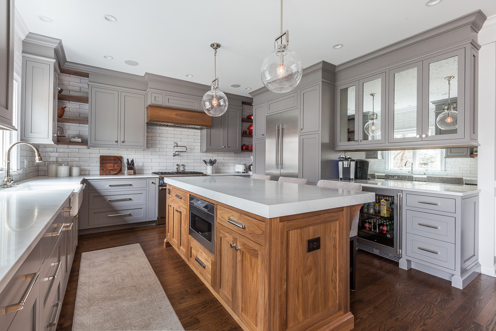 Inset Kitchen Cabinets In Clarendon Hills Illinois Farmhouse Kitchen Chicago By Wheatland Custom Cabinetry Woodwork Houzz