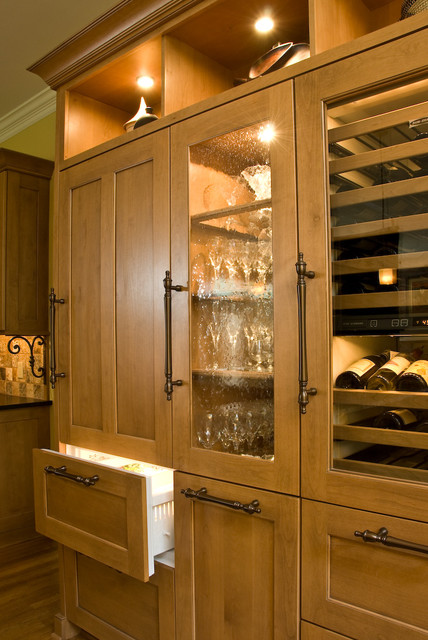 Integrated SubZero refrigerator and Wine unit - Traditional - Kitchen - Other - by Kitchens ...
