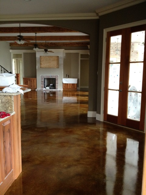 Interior Acid Stained Flooring Traditional Kitchen New Orleans By Dan Lynch Concrete Floors